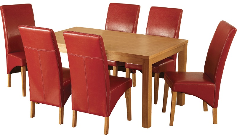 Natural Oak Veneer Rustic Red Rectangular Table Featuring Square Legs With Six G1 Chairs Belgravia Dining Set