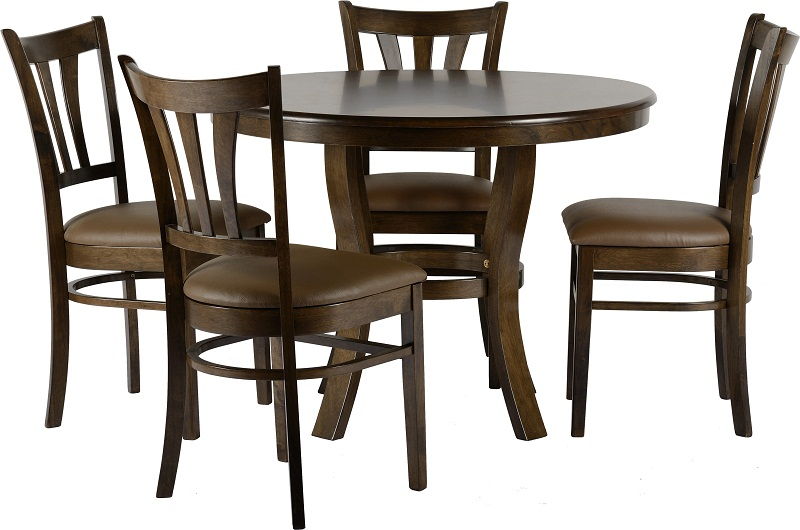Grosvenor Round Walnut Table With Four Brown PU Upholstered Chairs , Please  Click To Get Details