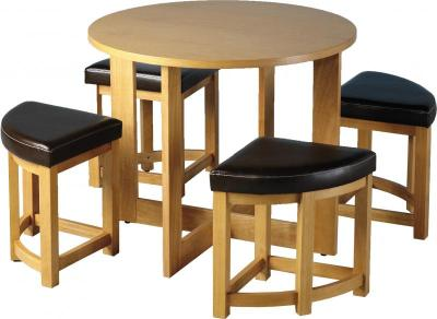 Round table with four stools upholstered in Mocca PU that fit. Sherwood Stowaway Dining Set  sc 1 st  Chartlink Furniture & Chartlink Furniture