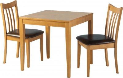 Beach Mocha Square Table With Two Upholstered Chairs In Mocca Pu Which Slide Neatly Under Arran Dining Set